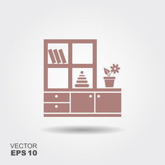 Furniture for nursery. Vector icon
