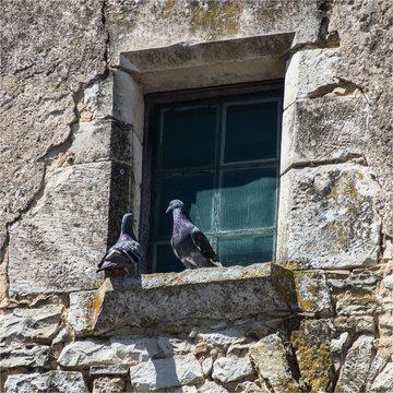 Fenêtre ancienne en pierre à Charroux dans la Vienne en France