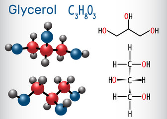 Glycerol (glycerine) molecule. Structural chemical formula and molecule model