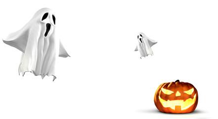 halloween pumpkin and ghost 3d rendering
