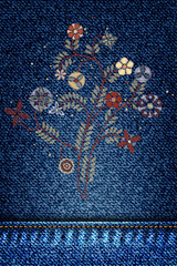Embroidery simplified floral pattern contemporary flowers on jeans background denim pattern or classic texture blue. Background of denim canvas. Vector.