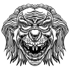 Evil scary clown monster with big nose and sharp teeth. Horror cartoon illustration isolated on white background. Vector.