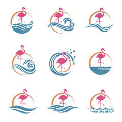 collection of pink flamingo emblems with sun and waves