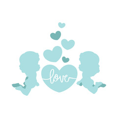 Clip art of two cute cherubs & hearts in blue shades which can be used for creating your own wallpapers, backgrounds, backdrop images, fabric patterns, clothing prints, labels, crafts & other projects