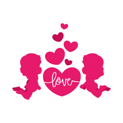 Clip art of two cute cherubs & hearts in pink shades which can be used for creating your own wallpapers, backgrounds, backdrop images, fabric patterns, clothing prints, labels, crafts & other projects