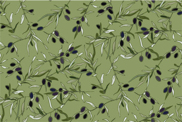 Black and green olives on branches with silvery leaves.