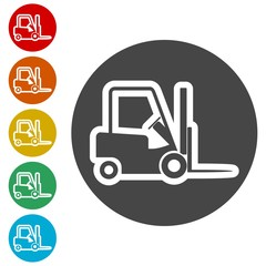 Forklift icon, Forklift truck side silhouette