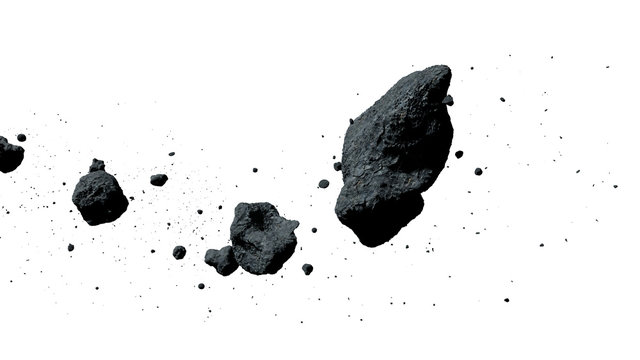 a swarm of asteroids isolated on white background