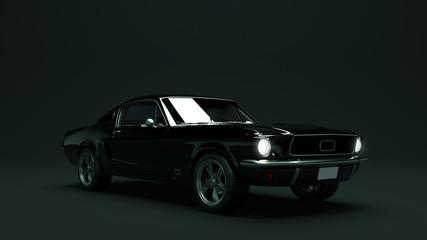 Powerful Black Muscle Car 3d illustration
