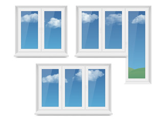 Vector realistic white plastic window icon set