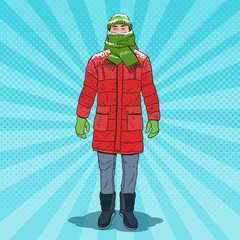 Pop Art Frozen Man in Warm Winter Clothes. Cold Weather. Vector illustration
