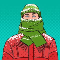 Pop Art Portrait of Frozen Man in Warm Winter Clothes. Cold Weather. Vector illustration