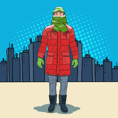 Pop Art Frozen Man in Warm Winter Clothes in the City. Cold Weather. Vector illustration