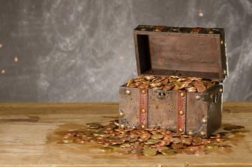 Schatztruhe  Euromünzen