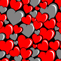 seamless pattern of cartoon heart red and gray colors overlapping each other, on a black background