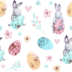 Watercolr pattern cute easter bunnies. Vintage holiday design. Artistic spring illustration