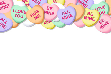 Valentines Day Candy Hearts Vector Background Border 1