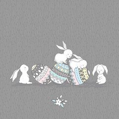 Vector Easter Greeting Card. Cute Rabbits with Eggs. Gray seamless patterns are included