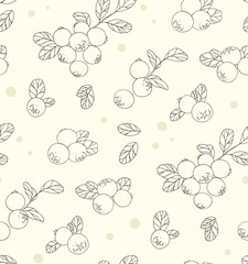 Seamless pattern with blueberries.