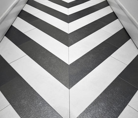 Shiny gold and silver chevron floor