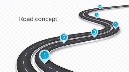 Winding 3D road concept on a transparent background. Timeline template