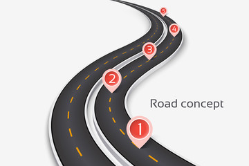 Winding 3D road concept on a white background. Timeline template
