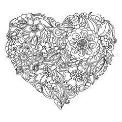 Drawn heart, flower ornament for Valentine's Day or wedding
