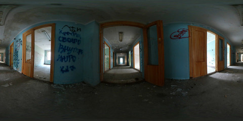 360 vr panorama of abandoned house corridor interior