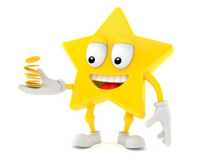 Star character with coins