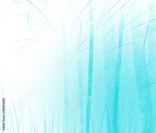 Colorful Hand Drawn Abstract View Of Blue Trees Without Leaves On