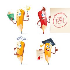 Set of cute funny pencil cartoon. Education, school