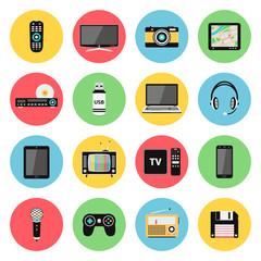 Digital devices flat icons set