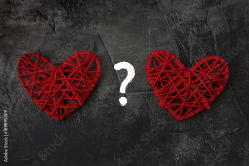 Two Hearts With A Question Mark On A Dark Background Theme For St