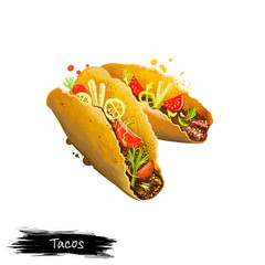 Mexican tacos, taco with beef, vegetables rolled in pita isolated on white background. Street food, take-away, take-out. Fast food hand drawn digital illustration. Graphic clipart design for web print