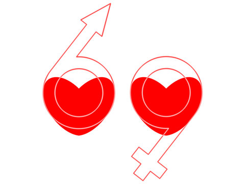 Hearts, male and female symbols as 69