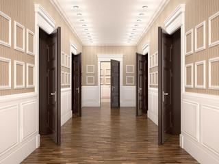 Wall Mural - corridor with open doors. 3d illustration