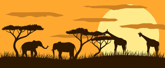 Giraffes and Elephants in Savannah at Sunset Flat Style