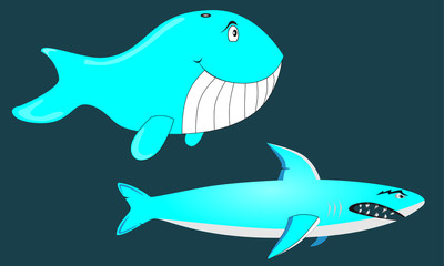 Happy Whale and Angry Shark