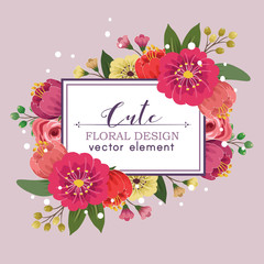 cute floral spring design vector element