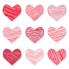 Vector illustration of a collection hand-drawn image in the hearts form for Valentine's Day. Red hearts doodles.