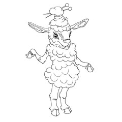 Sheep fermale hand drawn vector illustration