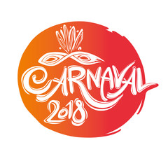 Carnaval 2018. Round seal similar to the sun. Title with Mask with feathers. Handwritten vector template.