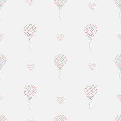 Seamless pattern, hand drawn hearts in brush organised into air balloons