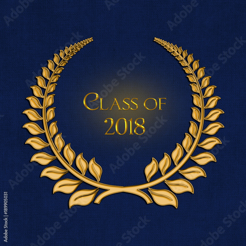 Gold Laurel Symbol For 2018 Graduation On Dark Blue Background