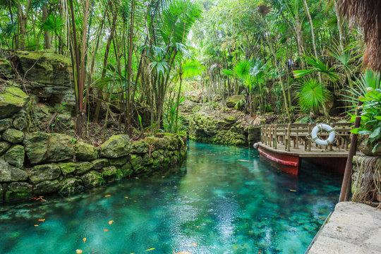 Blue river in Xcaret, Mexico