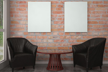 mock up poster frame in interior with black chairs. 3d illustrat