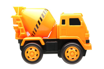 yellow cement truck toy isolated on white background