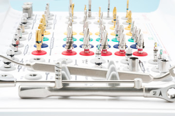 Tool set of implant surgical kit for dentist in the office or clinic.