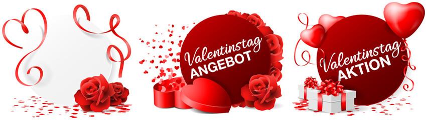 Valentinstag Button Set mit Konfetti, Herz Luftballons und Geschenken