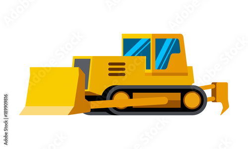 Dozer Minimalistic Icon Isolated Construction Equipment Vector Heavy Vehicle Color
